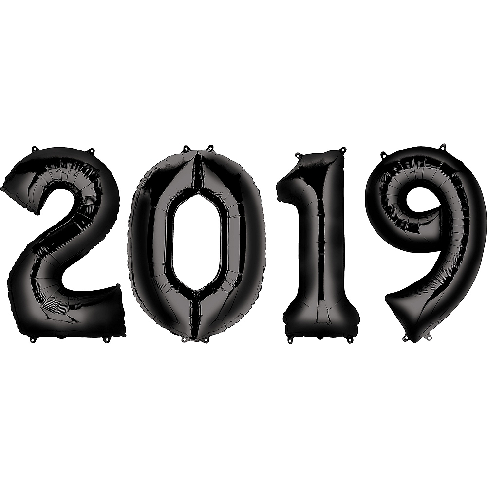 34in Giant Black 2019 Number Balloons 4pc Image #1