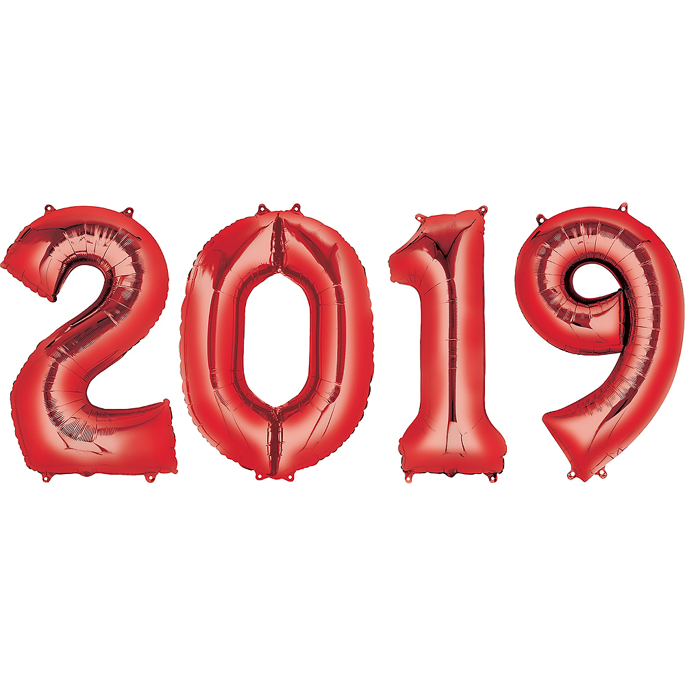 34in Giant Red 2019 Number Balloons 4pc Image #1