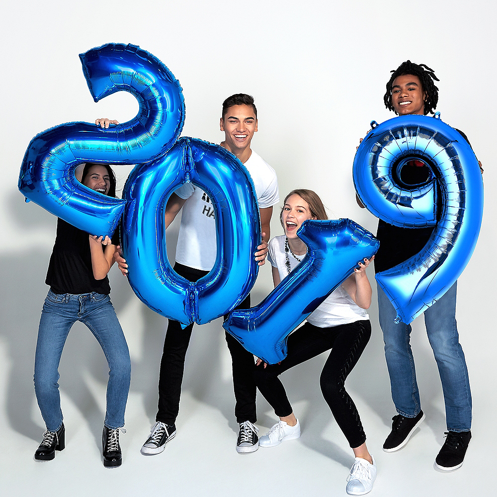 34in Giant Blue 2019 Number Balloons 4pc Image #2