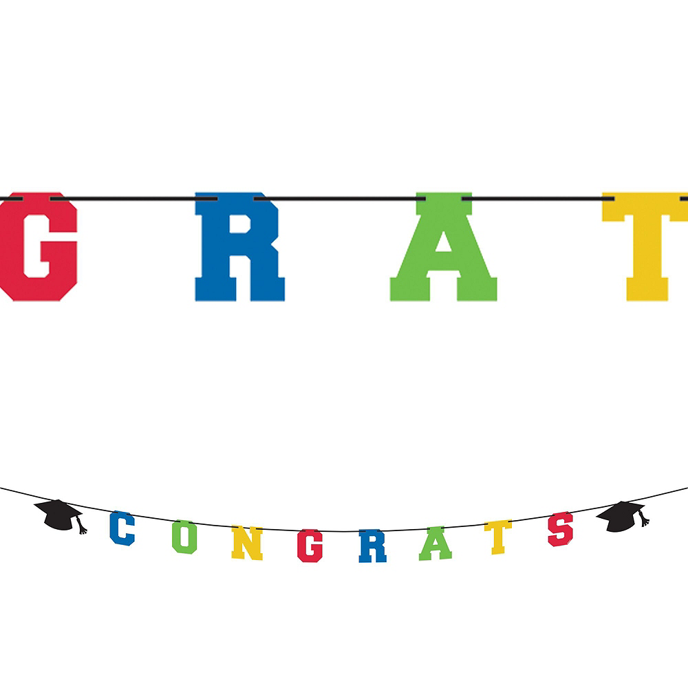 Deluxe Congrats Grad Colorful Graduation Party Kit for 36 Guests Image #5