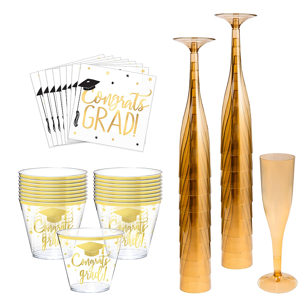 Metallic Gold The Adventure Begins Graduation Cocktail Party Kit for 16 Guests Image #1