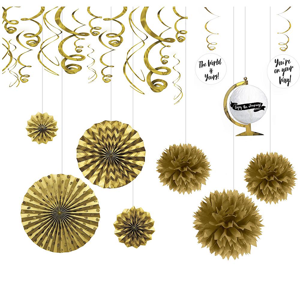 Metallic Gold The Adventure Begins Graduation Decoration Kit Image #1