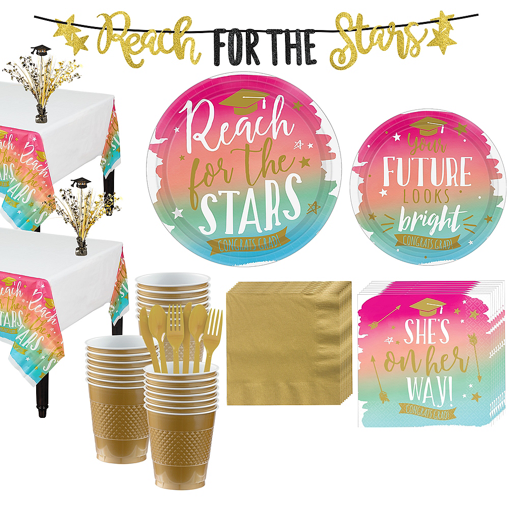 Deluxe Reach For The Stars Grad Party Kit For 36 Guests