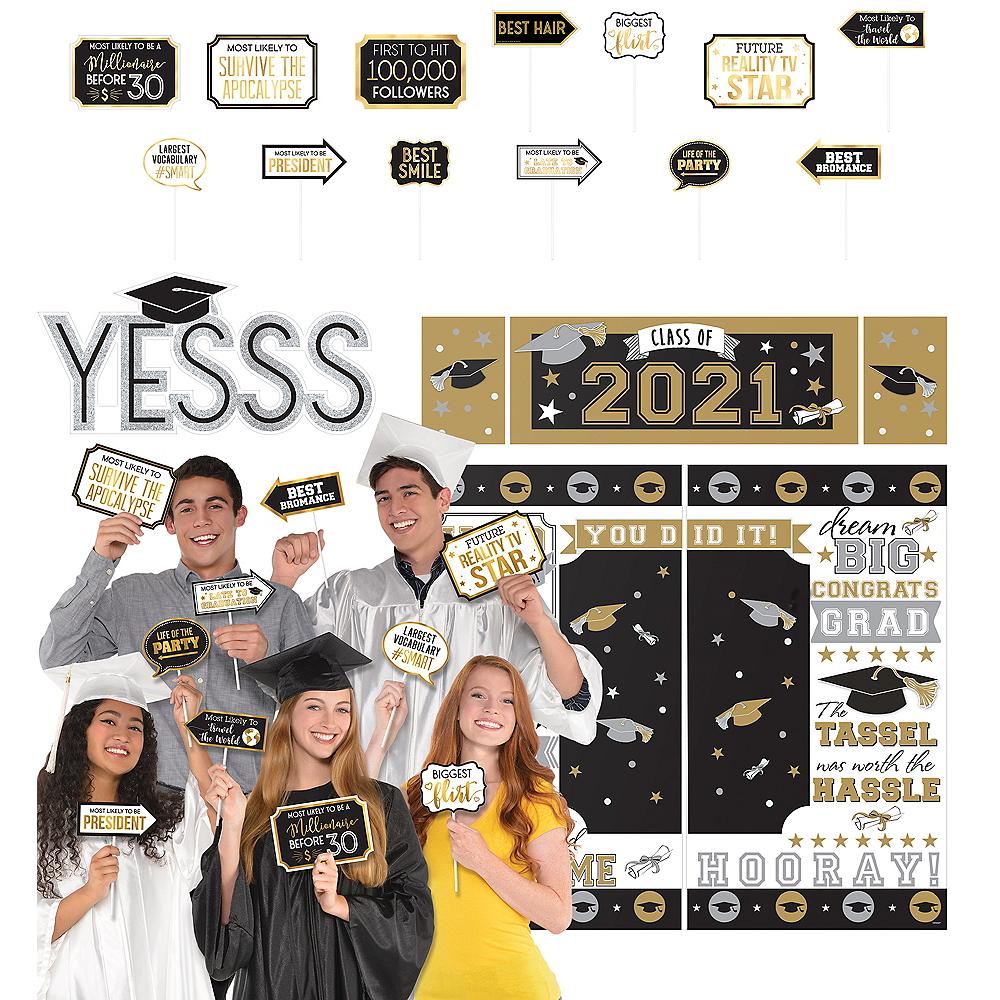 2019 Graduation Black, Gold & Silver Super Photo Booth Kit Image #1