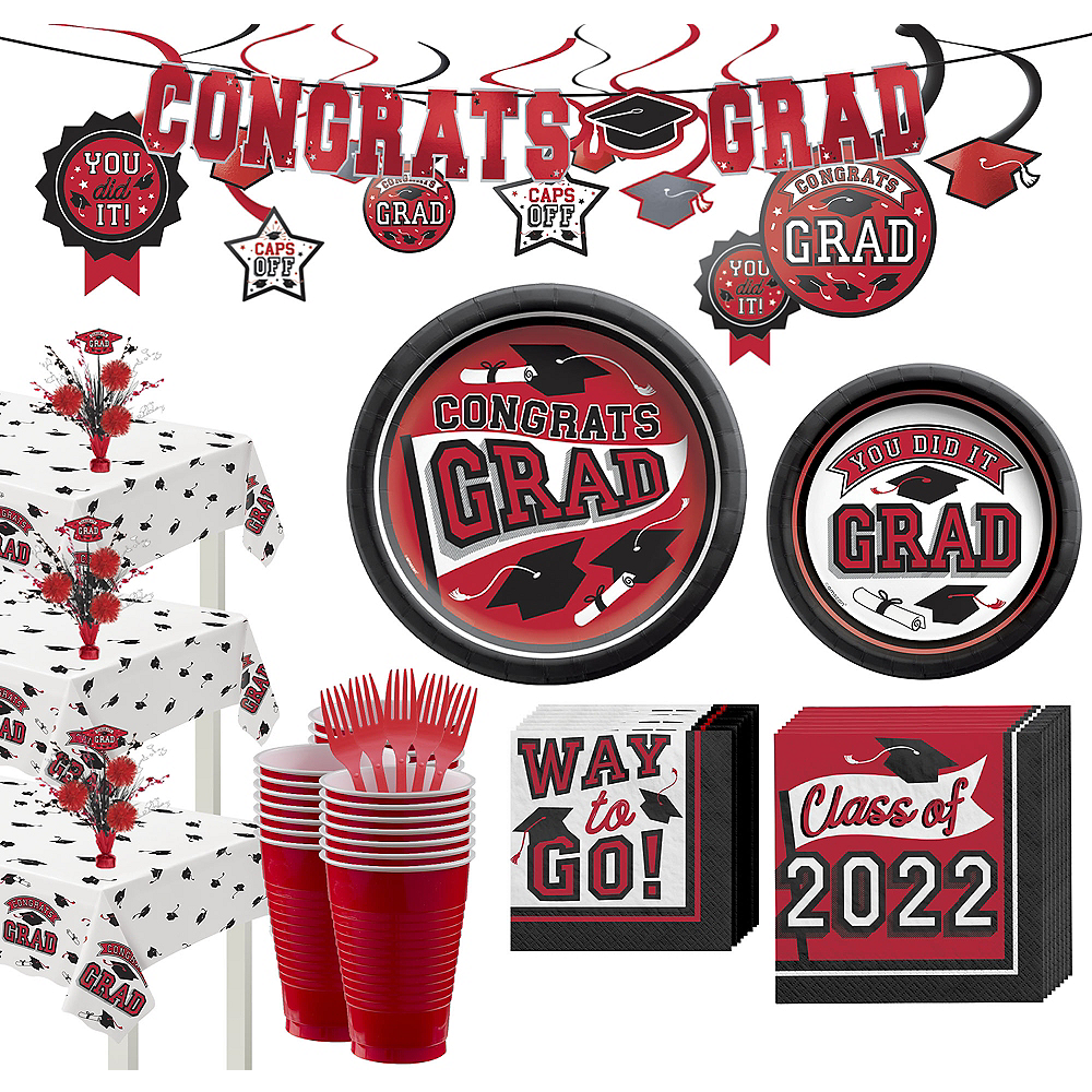 Super Congrats Grad Red Graduation Party Kit for 54 Guests Image #1