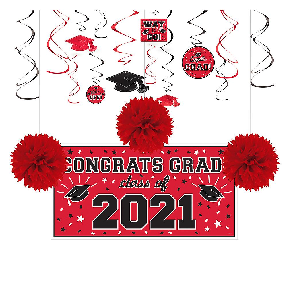 Congrats Grad Red Graduation Decorating Kit Image #1