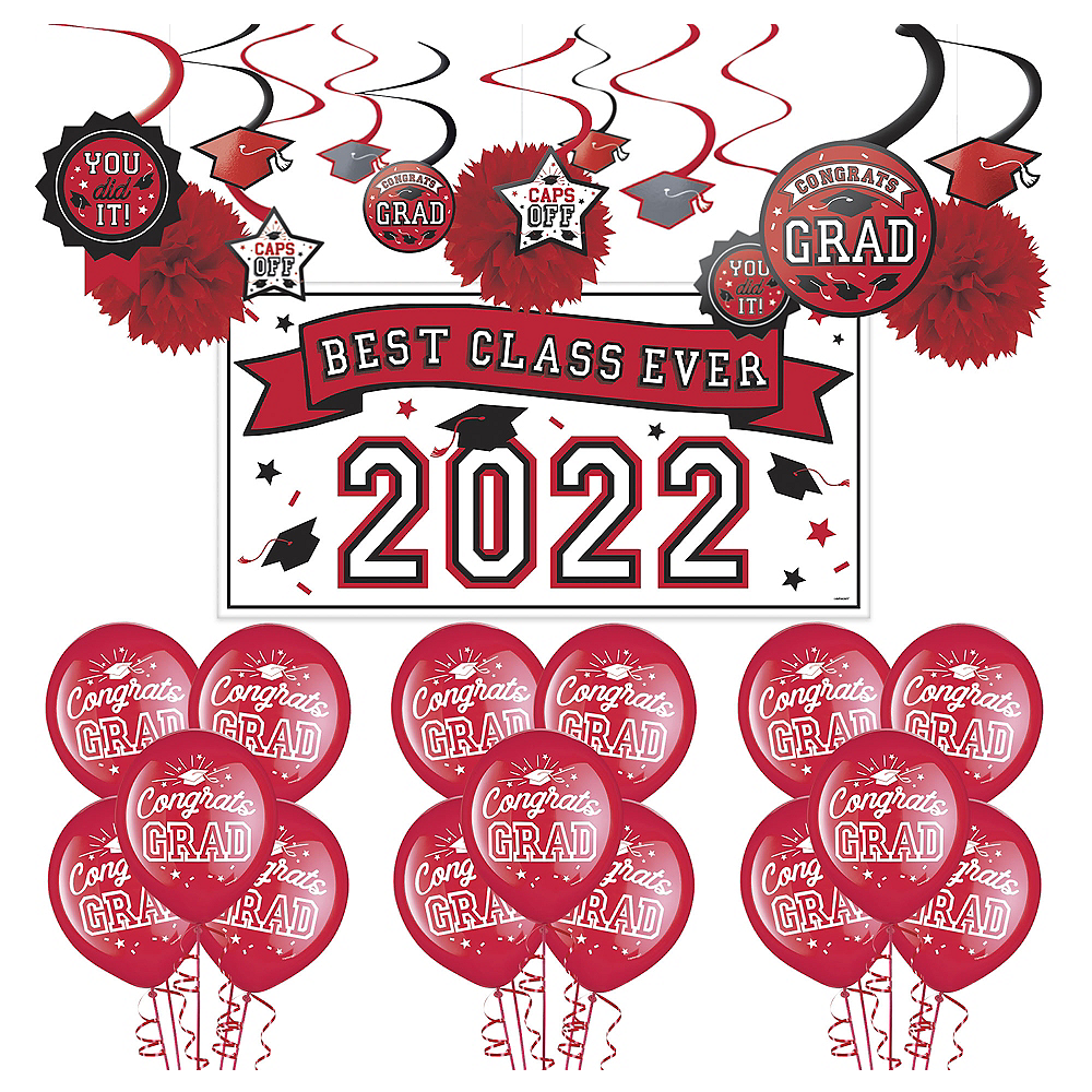 Congrats Grad Red Graduation Decorating Kit with Balloons Image #1