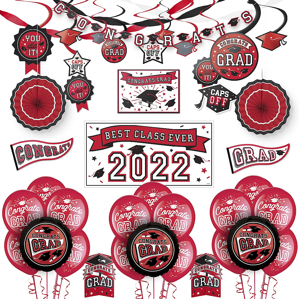 Congrats Grad Red Graduation Deluxe Decorating Kit with Balloons Image #1