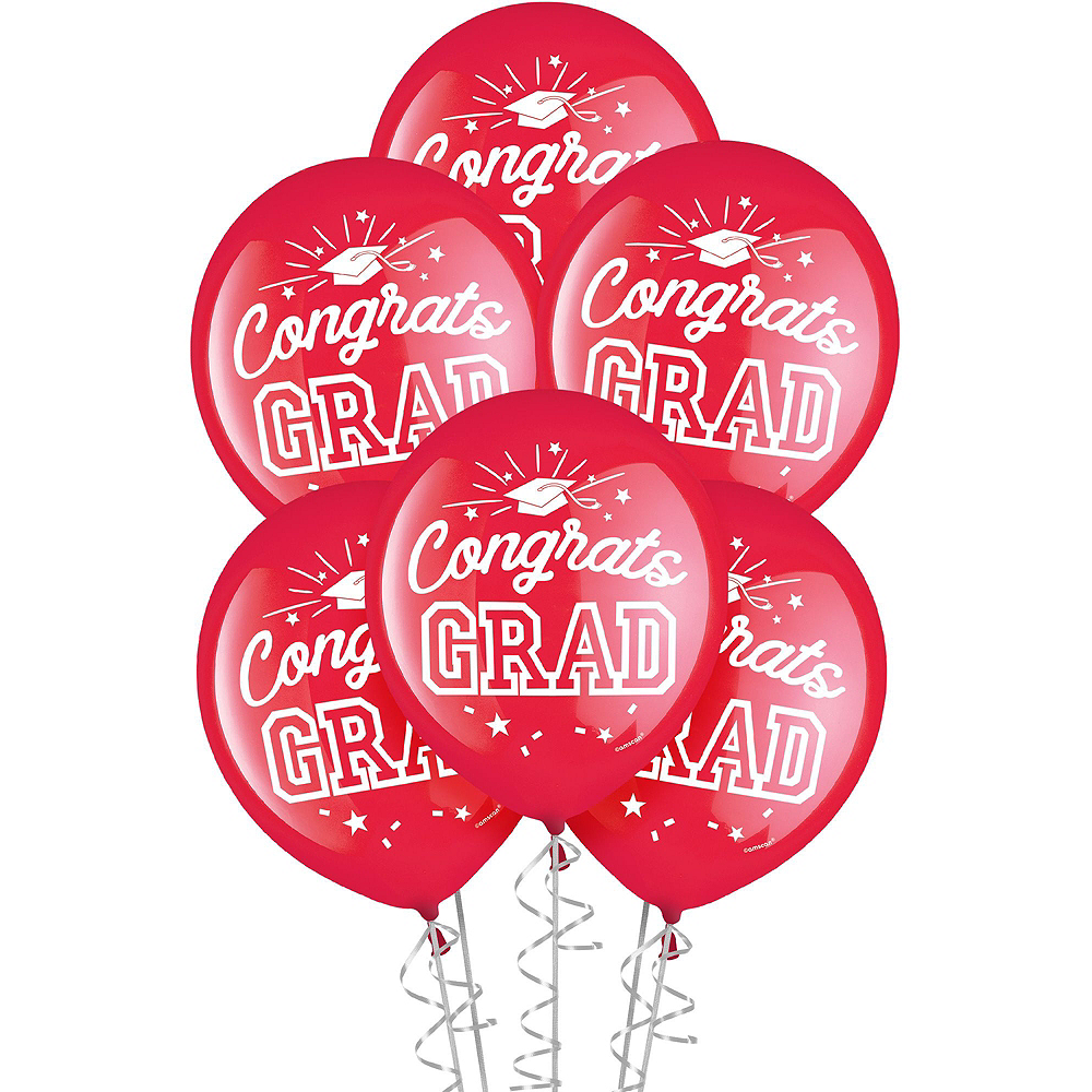 Congrats Grad Red Graduation Deluxe Decorating Kit with Balloons Image #3
