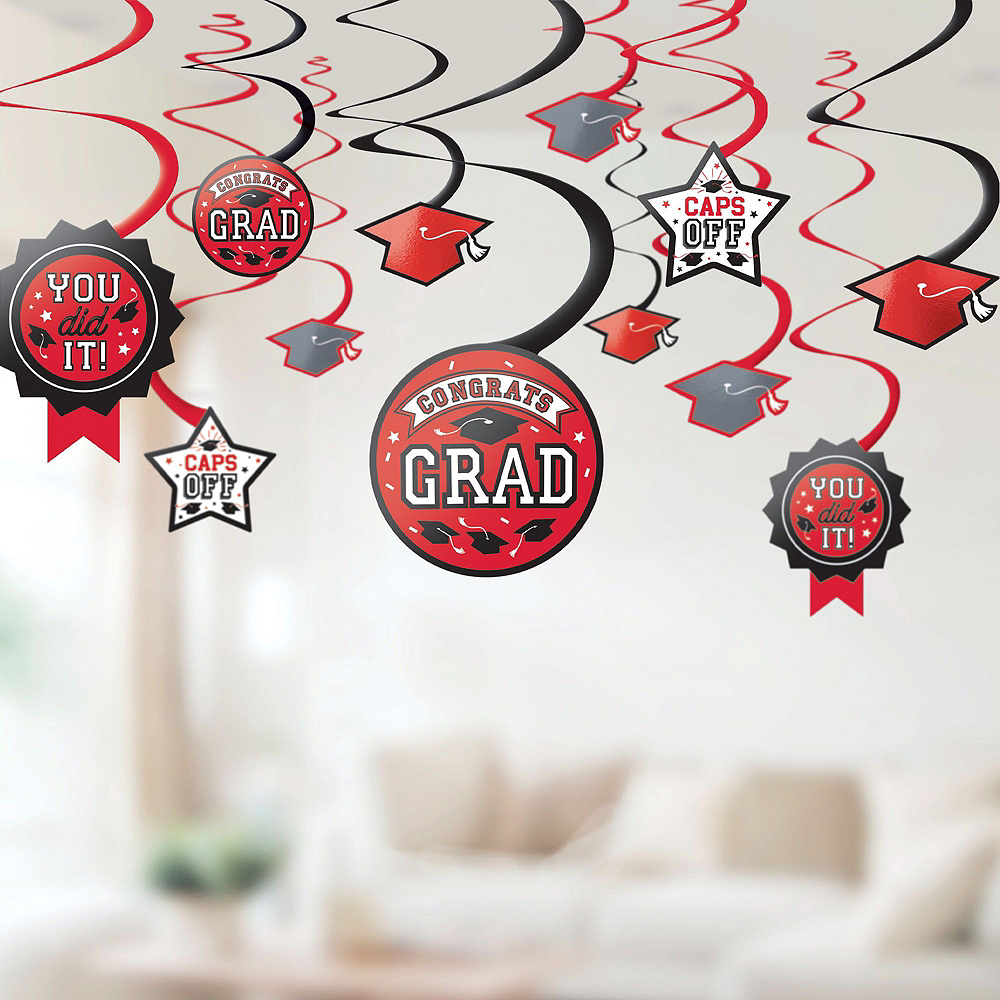 Congrats Grad Red Graduation Deluxe Decorating Kit with Balloons Image #5
