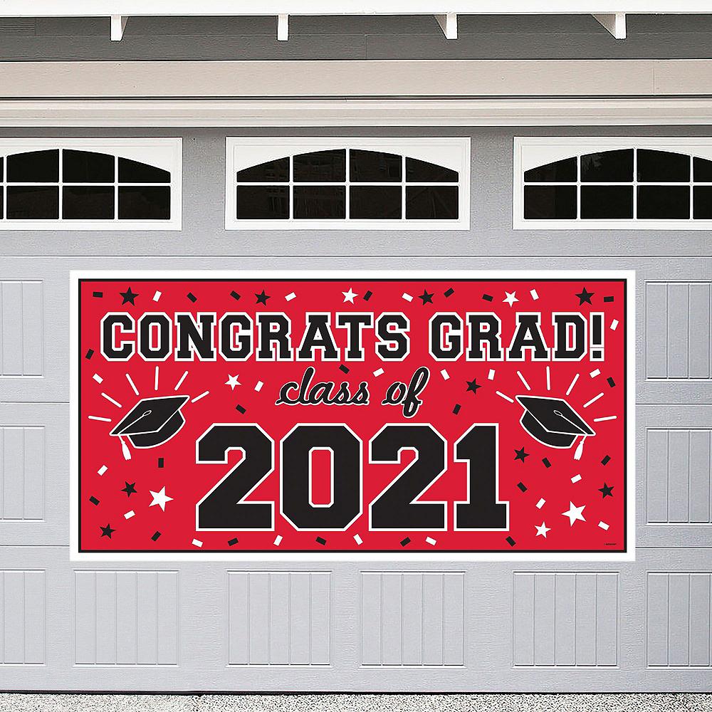 Congrats Grad Red Graduation Outdoor Decorations Kit Image #2