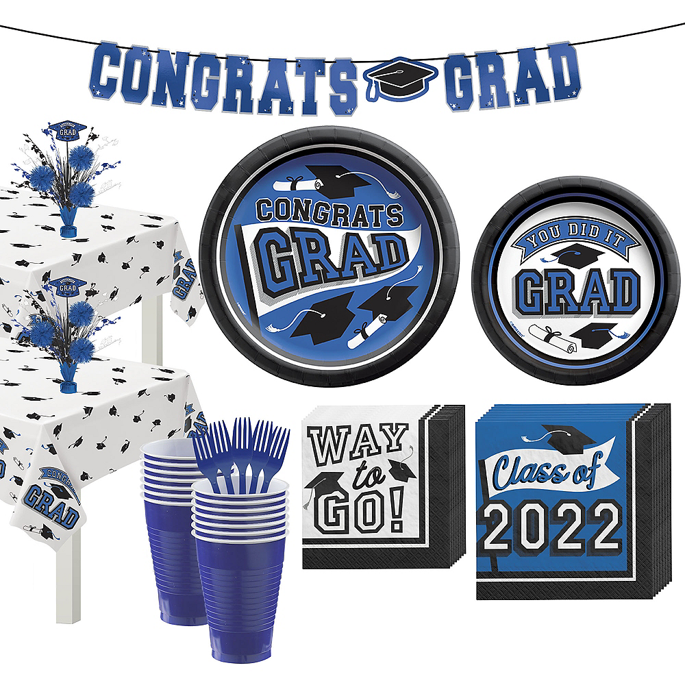 Congrats Grad Blue Graduation Party Kit for 36 Guests Image #1