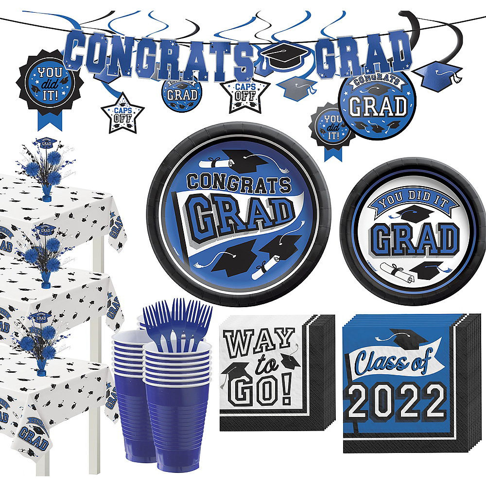 Super Congrats Grad Blue Graduation Party Kit for 54 Guests Image #1