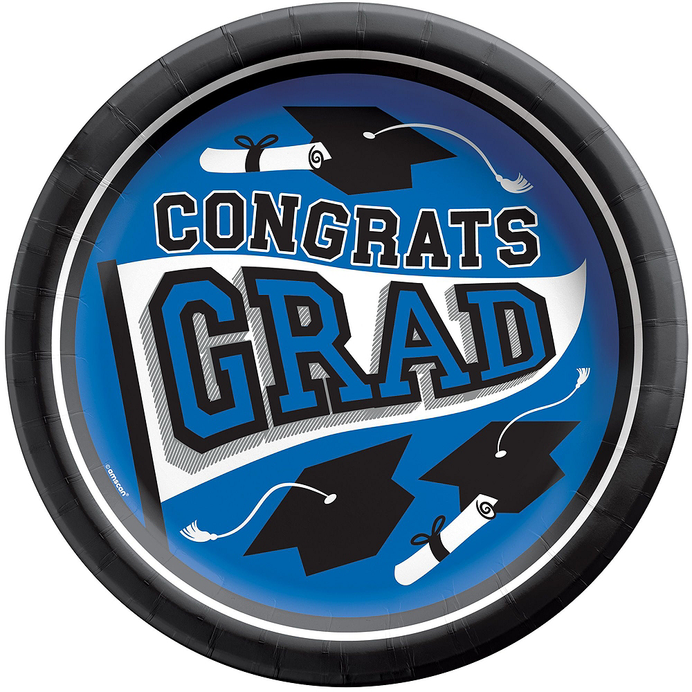 Super Congrats Grad Blue Graduation Party Kit for 54 Guests Image #3
