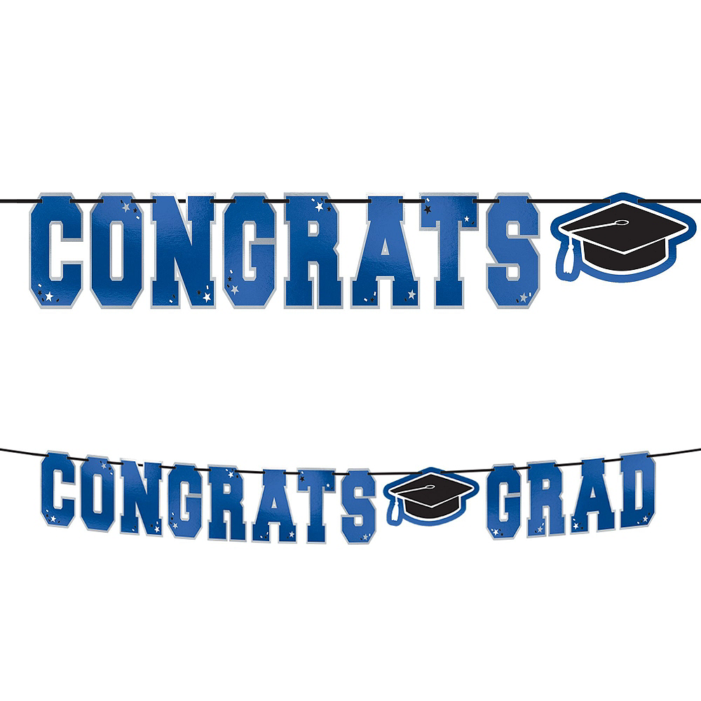 Super Congrats Grad Blue Graduation Party Kit for 54 Guests Image #10