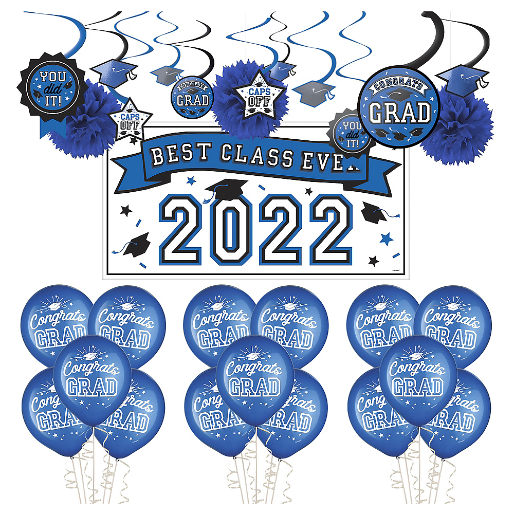 Congrats Grad Blue Graduation Decorating Kit with Balloons Image #1