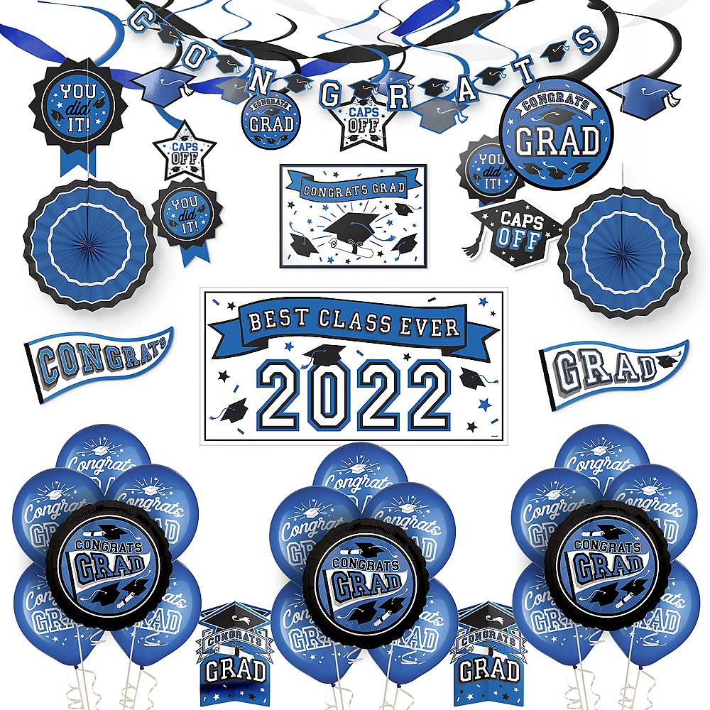Congrats Grad Blue Graduation Deluxe Decorating Kit with Balloons Image #1