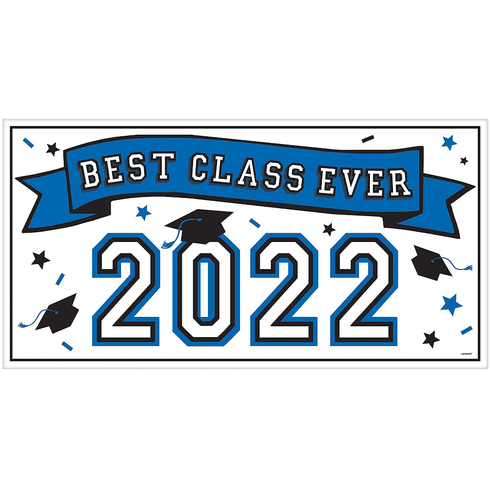 Congrats Grad Blue Graduation Deluxe Decorating Kit with Balloons Image #2