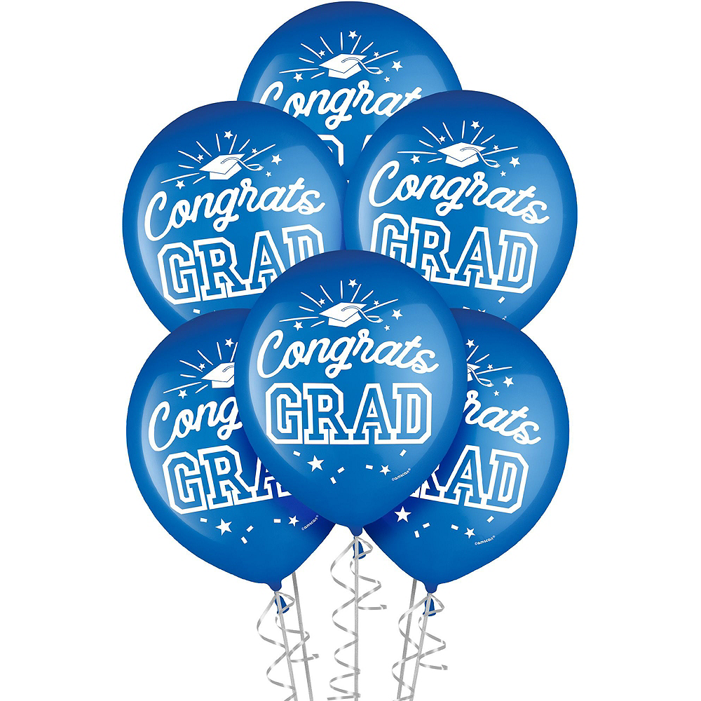 Congrats Grad Blue Graduation Deluxe Decorating Kit with Balloons Image #3