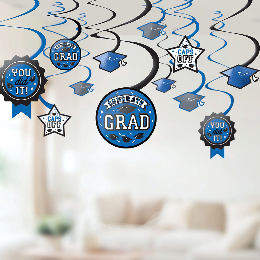 Congrats Grad Blue Graduation Deluxe Decorating Kit with Balloons Image #5