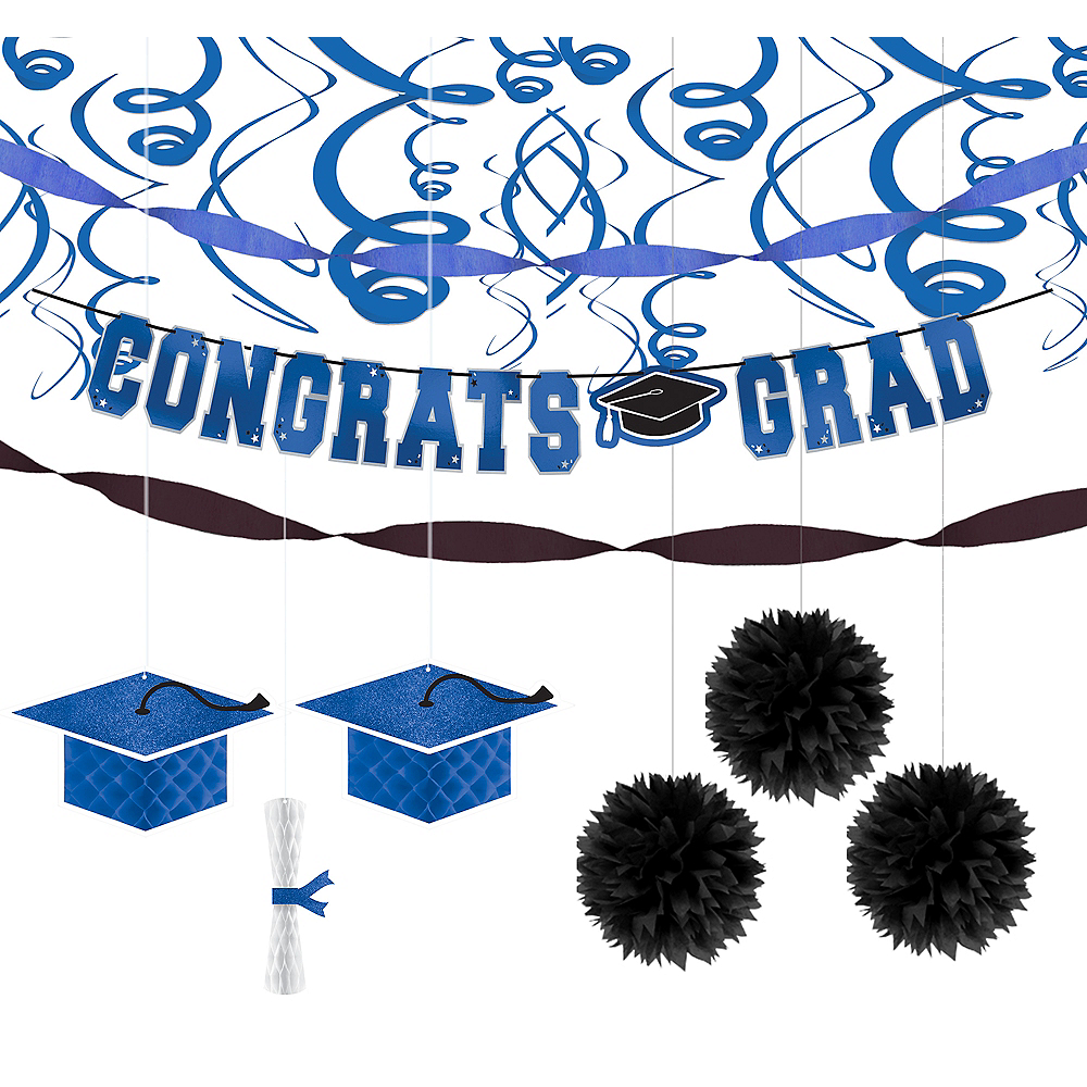 Congrats Grad Blue Graduation Hanging Decorations Kit Image #1