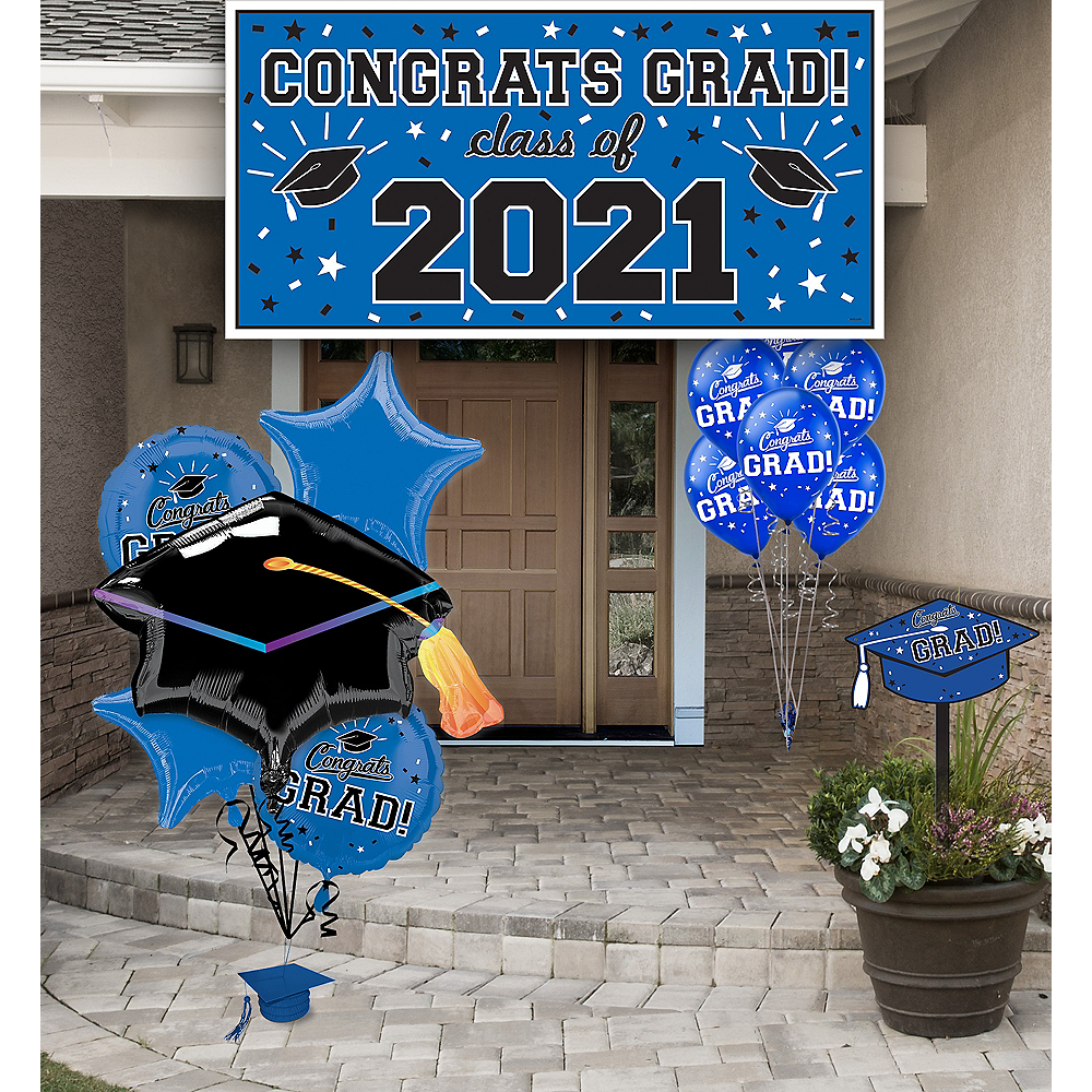 Congrats Grad Blue Graduation Outdoor Decorations Kit Image #1