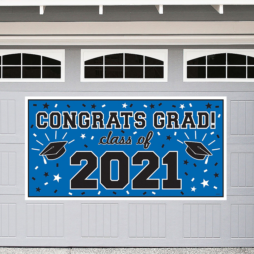 Congrats Grad Blue Graduation Outdoor Decorations Kit Image #4