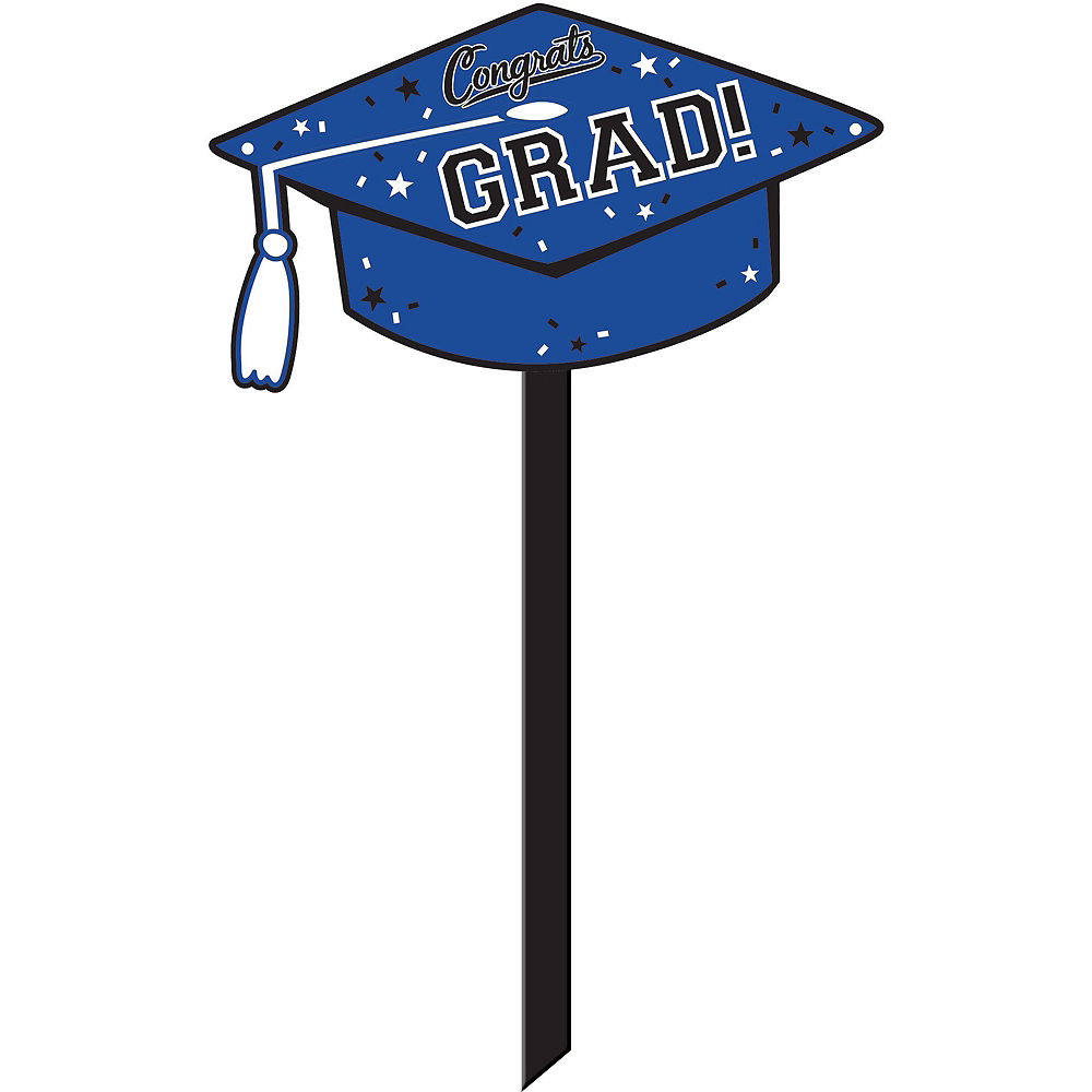 Congrats Grad Blue Graduation Outdoor Decorations Kit Image #5