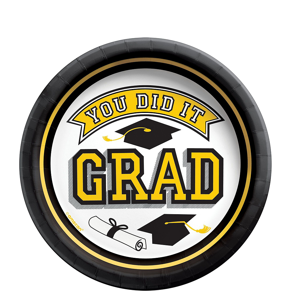Congrats Grad Yellow Graduation Tableware Kit for 18 Guests Image #2