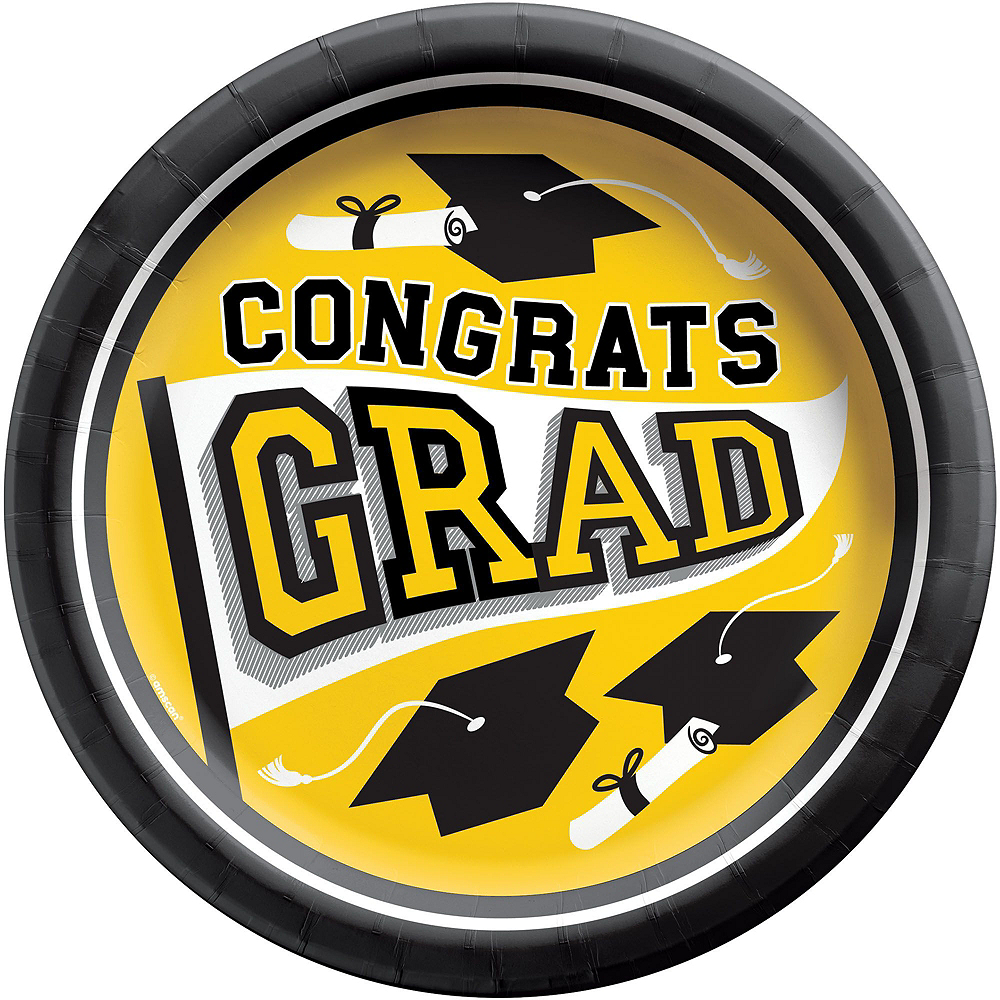 Congrats Grad Yellow Graduation Tableware Kit for 18 Guests Image #3