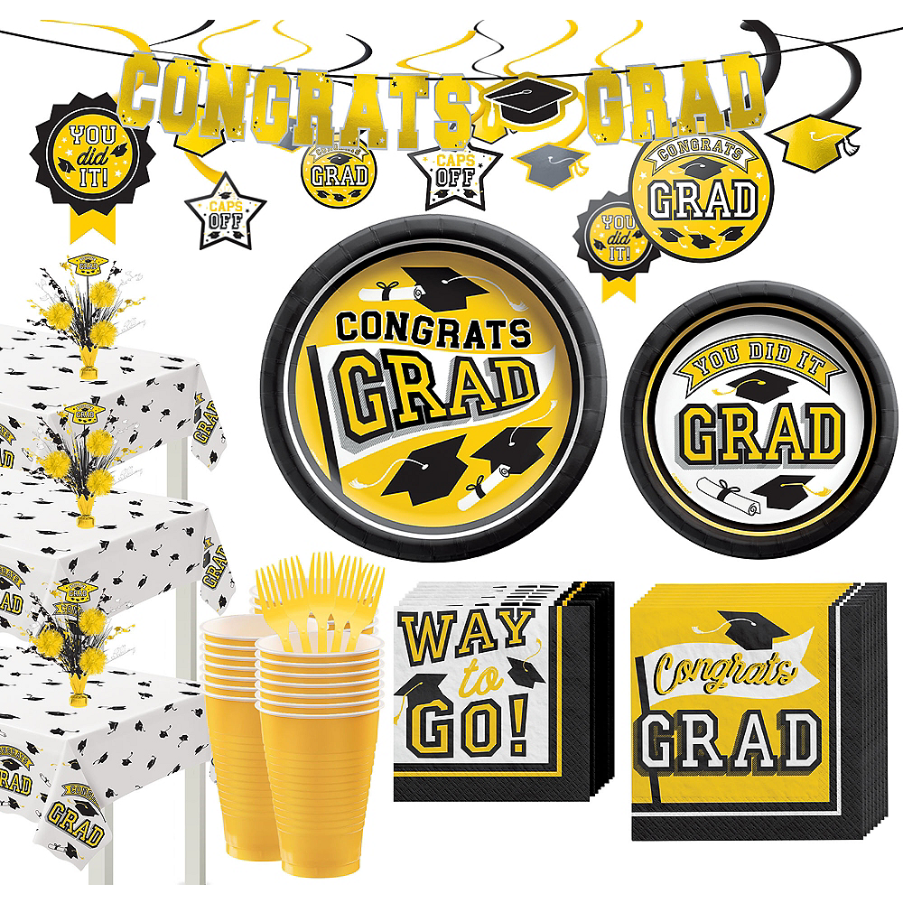 Super Congrats Grad Yellow Graduation Party Kit for 54 Guests Image #1