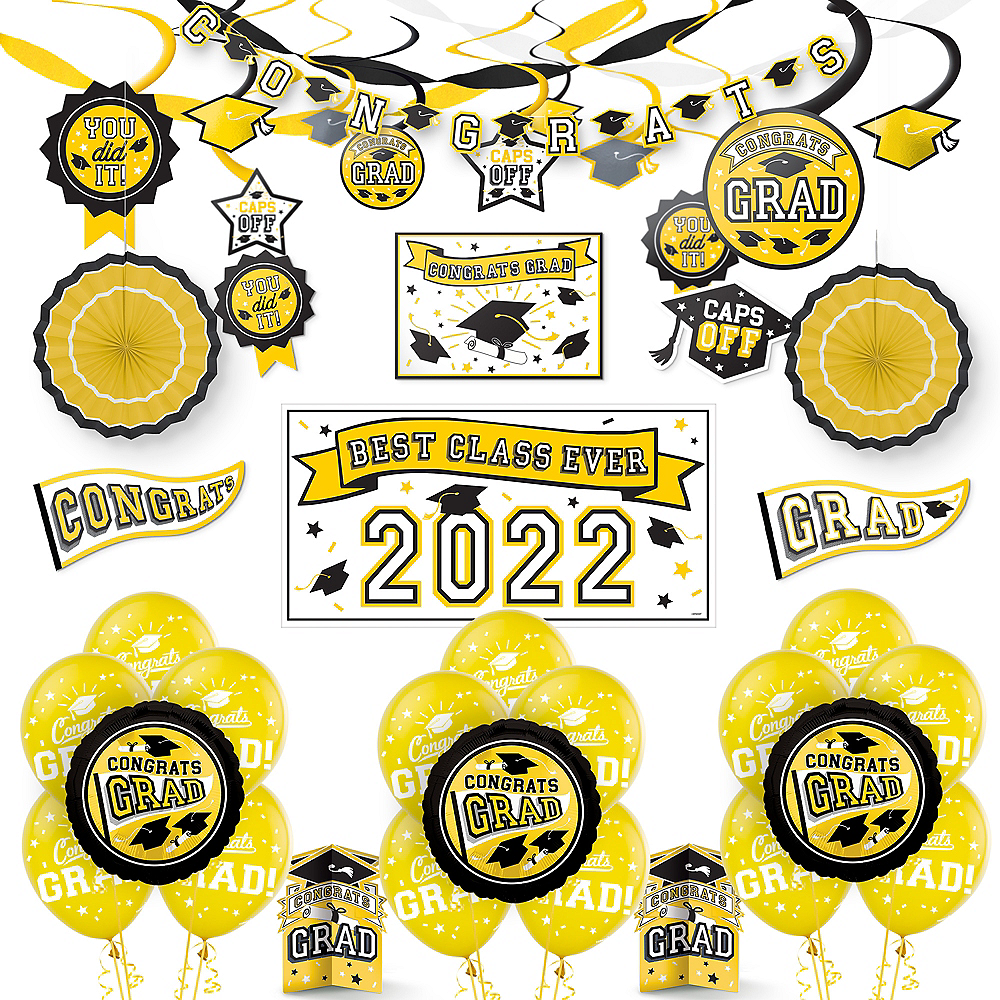 Congrats Grad Yellow Graduation Deluxe Decorating Kit with Balloons Image #1