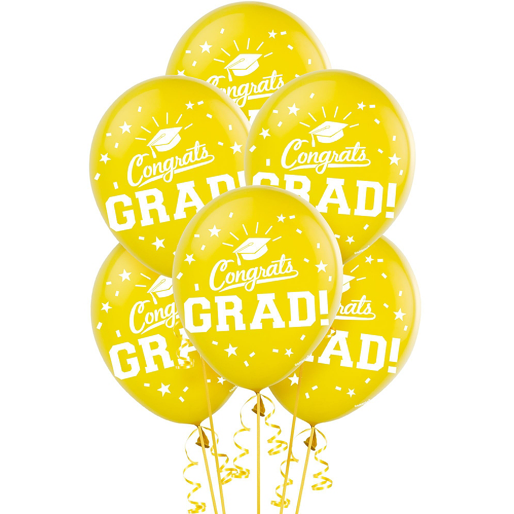 Congrats Grad Yellow Graduation Deluxe Decorating Kit with Balloons Image #3