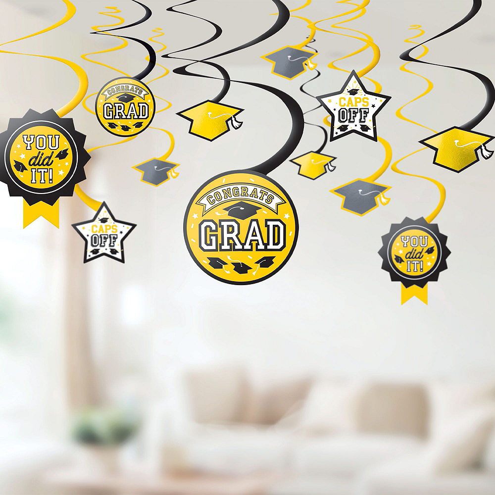 Congrats Grad Yellow Graduation Deluxe Decorating Kit with Balloons Image #5