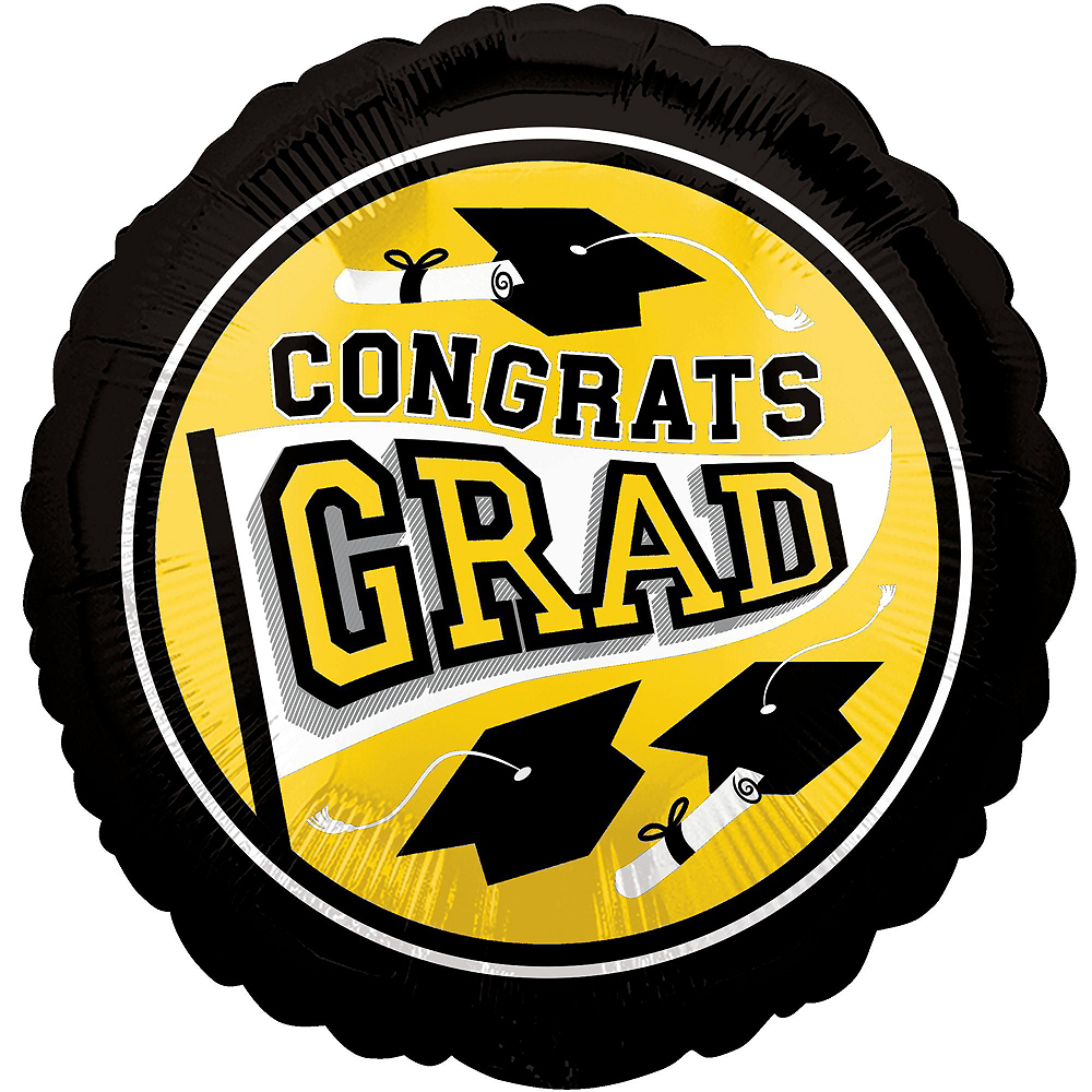 Congrats Grad Yellow Graduation Deluxe Decorating Kit with Balloons Image #10