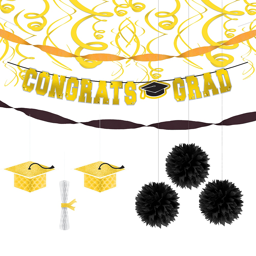 Congrats Grad Yellow Graduation Hanging Decorations Kit Image #1