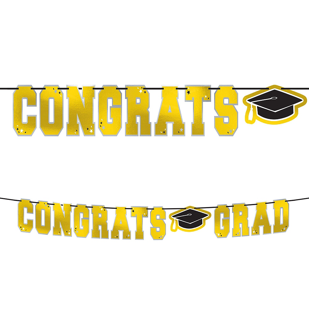 Congrats Grad Yellow Graduation Hanging Decorations Kit Image #5