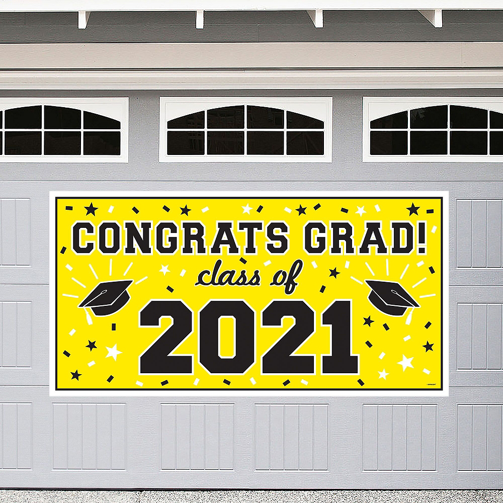 Congrats Grad Yellow Graduation Outdoor Decorations Kit Image #2