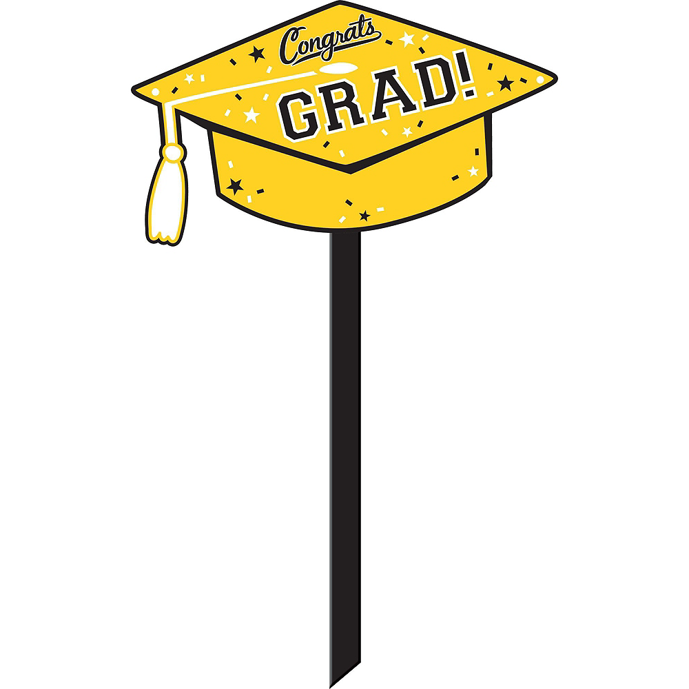 Congrats Grad Yellow Graduation Outdoor Decorations Kit Image #6