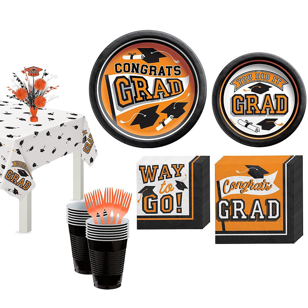 Congrats Grad Orange Graduation Tableware Kit for 18 Guests Image #1