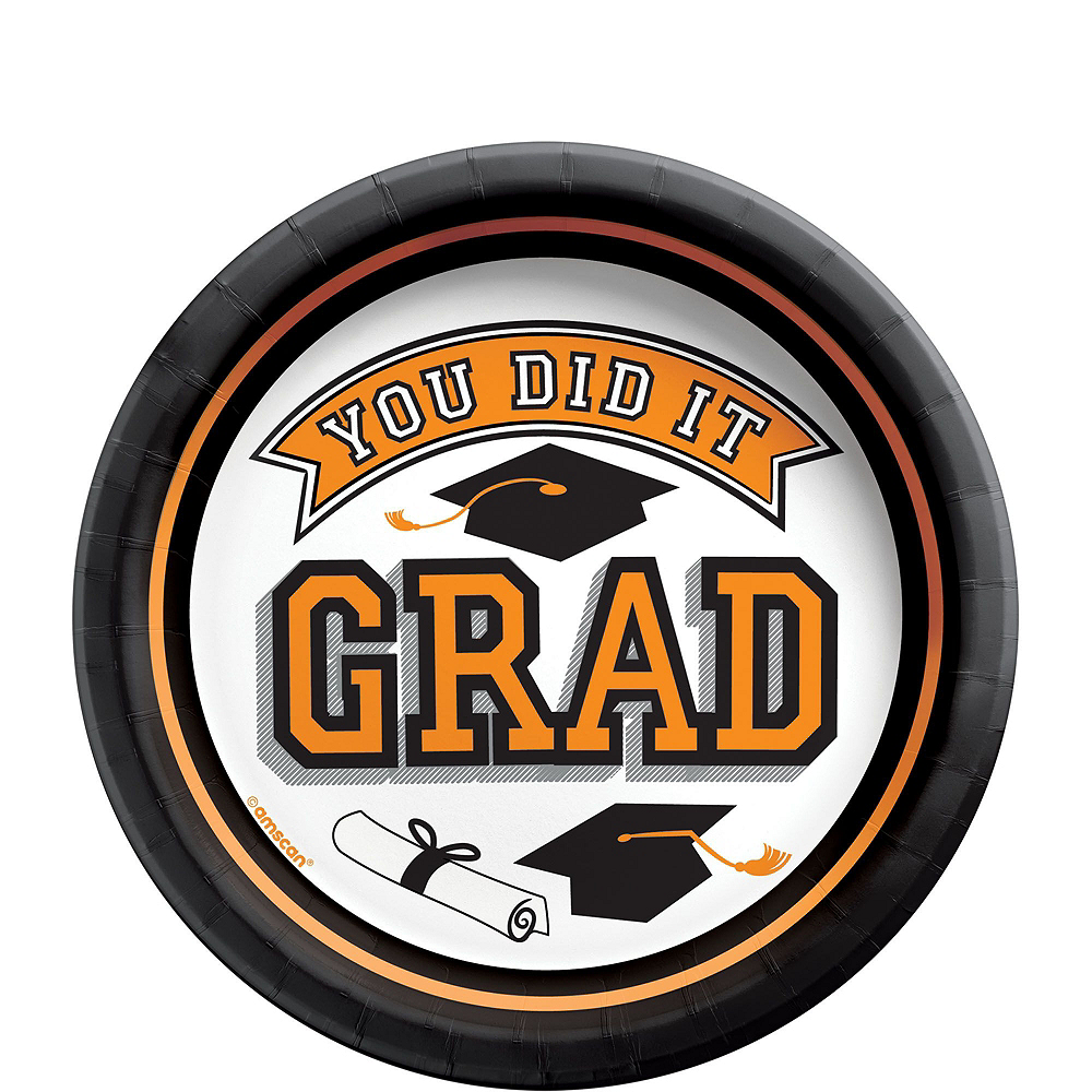 Congrats Grad Orange Graduation Tableware Kit for 18 Guests Image #2