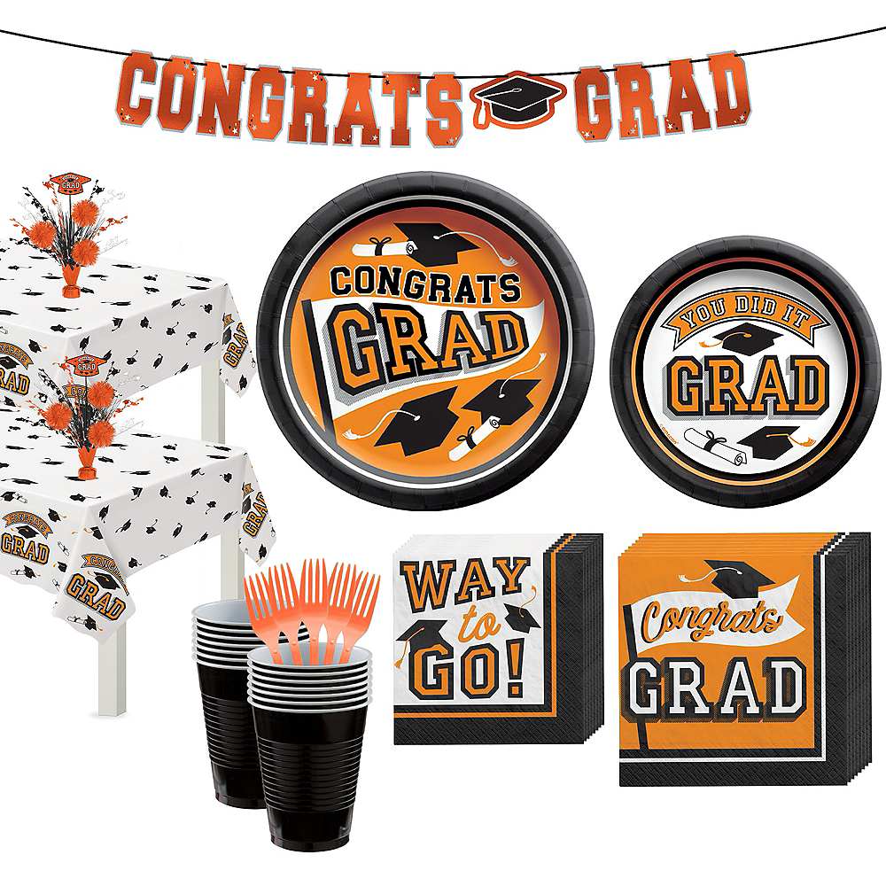 Congrats Grad Orange Graduation Party Kit for 36 Guests Image #1