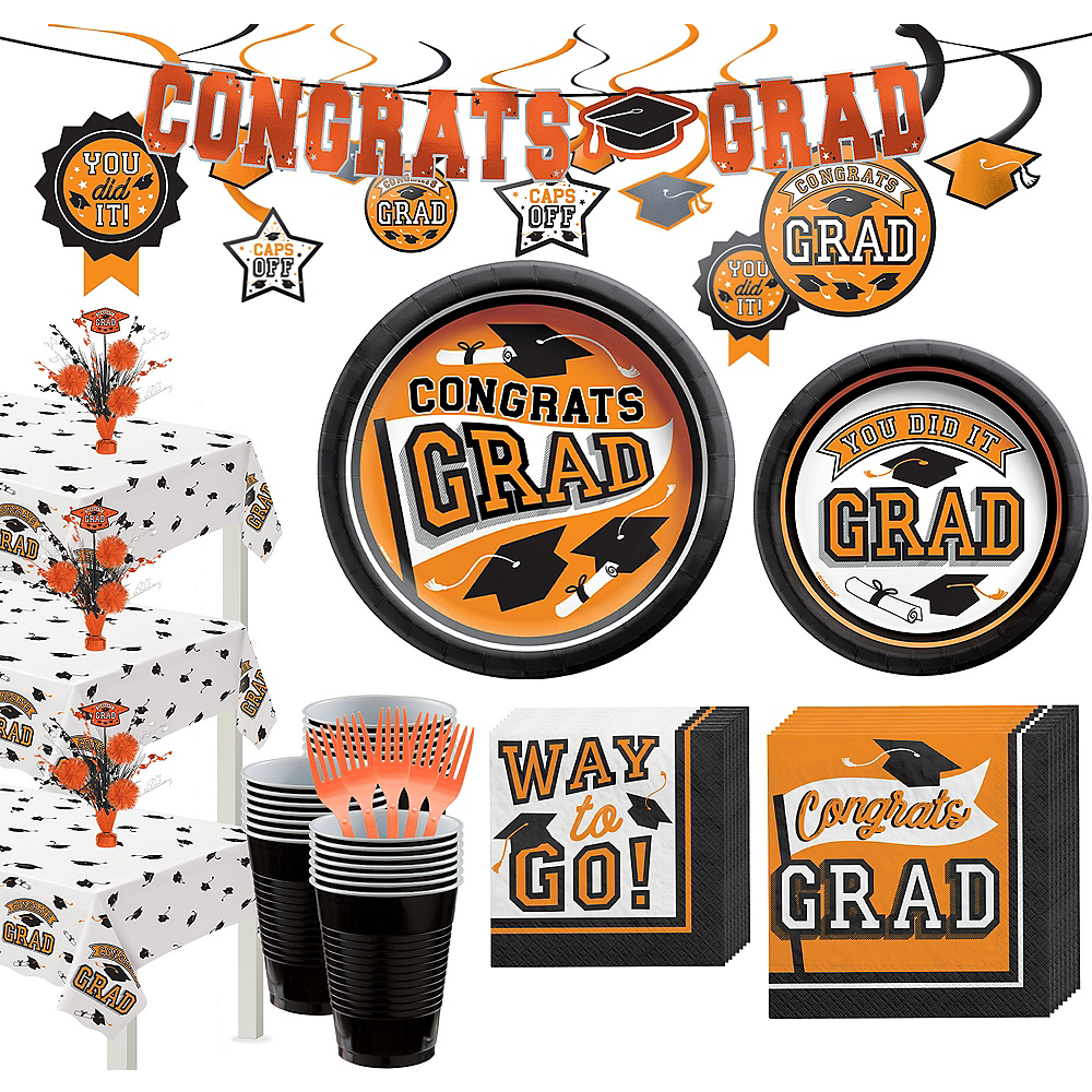 Super Congrats Grad Orange Graduation Party Kit for 54 Guests Image #1