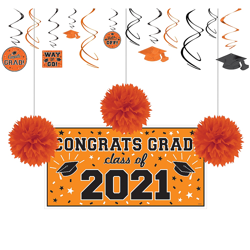 Congrats Grad Orange Graduation Decorating Kit Image #1
