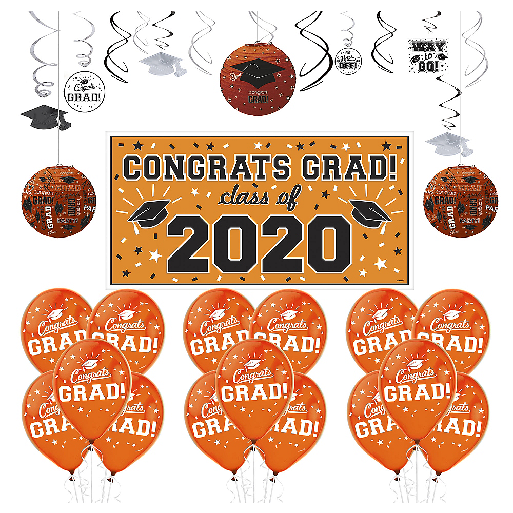 Nav Item for Congrats Grad Orange Graduation Decorating Kit with Balloons Image #1