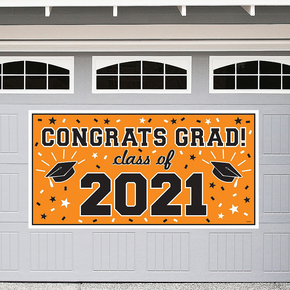 Nav Item for Congrats Grad Orange Graduation Decorating Kit with Balloons Image #3