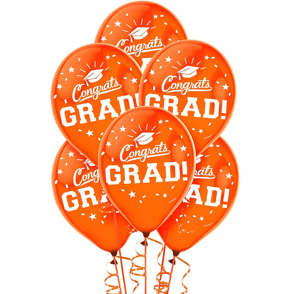 Nav Item for Congrats Grad Orange Graduation Decorating Kit with Balloons Image #4