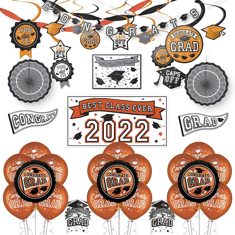 Congrats Grad Orange Graduation Deluxe Decorating Kit with Balloons Image #1