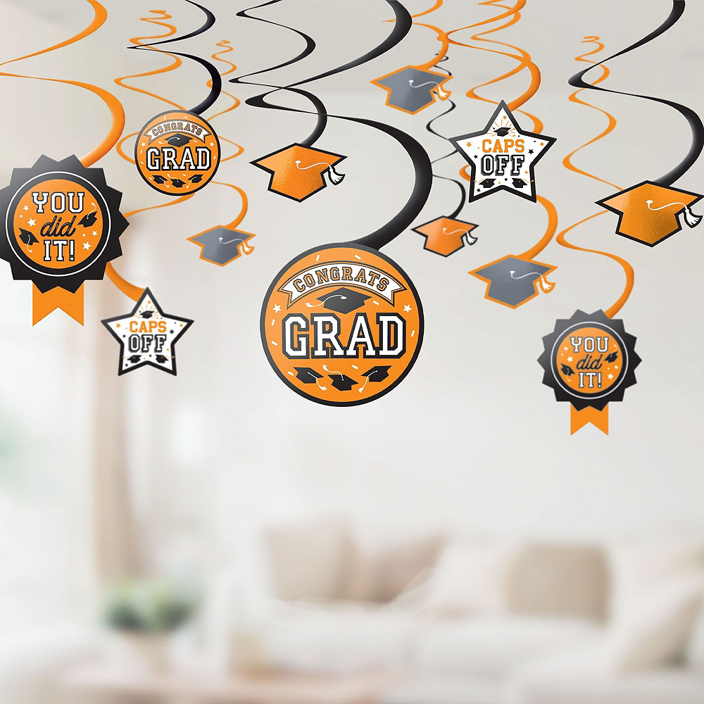 Congrats Grad Orange Graduation Deluxe Decorating Kit with Balloons Image #5