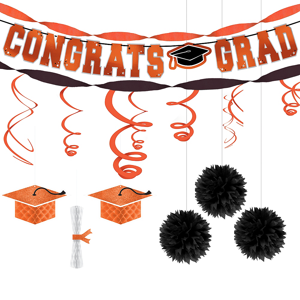 Congrats Grad Orange Graduation Hanging Decorations Kit Image #1